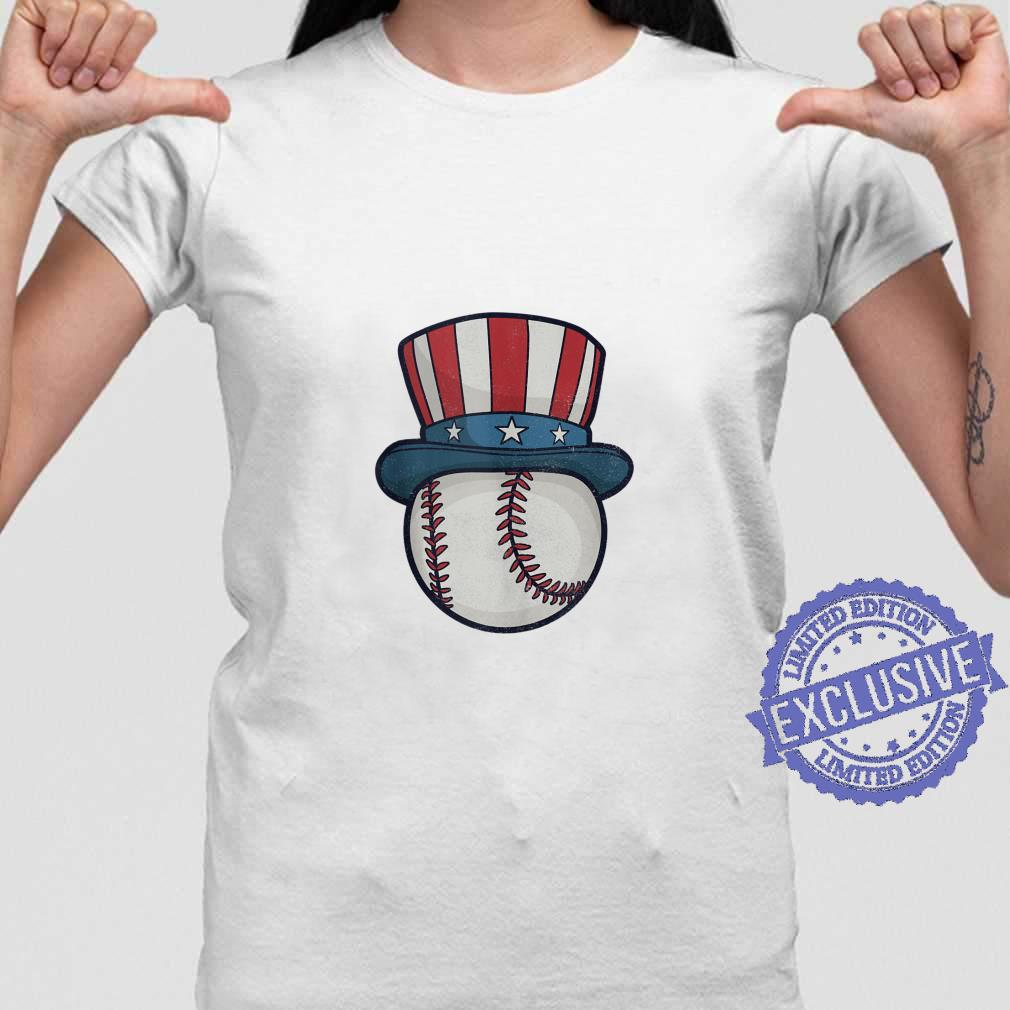 USA Flag Hat Red White and Blue Baseball 4th of July Top Shirt ladies tee