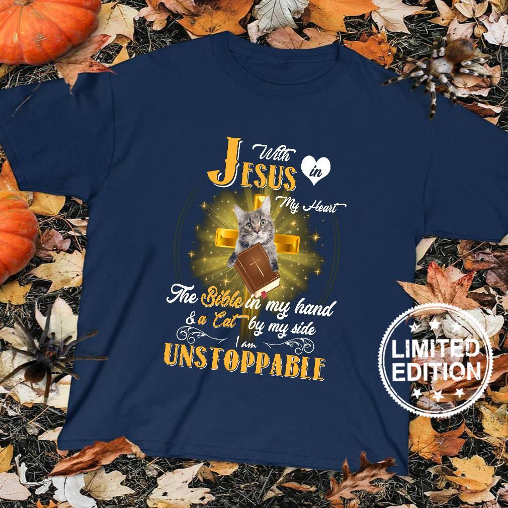 With in jesus my heart the bible in my hand and a cat by my side unstoppable shirt sweater